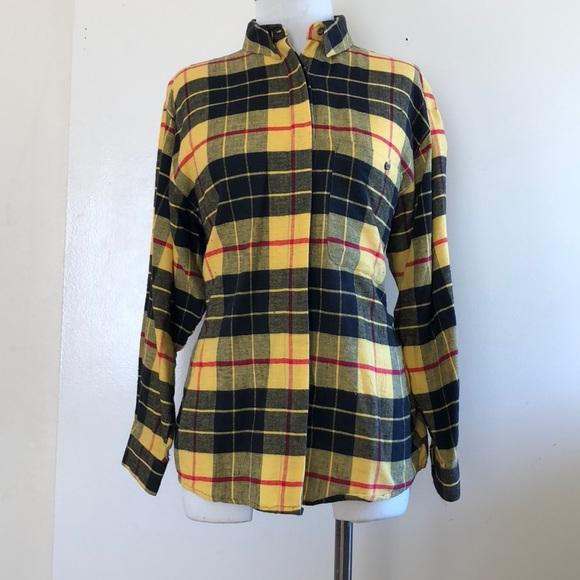 Diane Von Furstenberg Tops - Diane Von Furstenberg M yellow plaid flannel  shirt 9f0a7ac2f7a